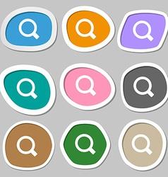 Magnifier glass icon symbols Multicolored paper vector image
