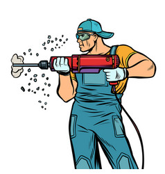 man builder worker drills puncher wall vector image
