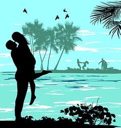 man holding a woman vector image