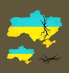 Map ukraine with crack vector