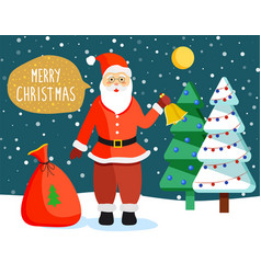 merry christmas santa claus in forest at night vector image