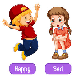 Opposite adjective words with happy and sad vector