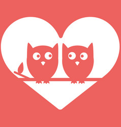 owls in love minimal background valentine s day vector image