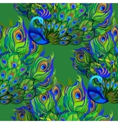 Peacock birds Beautiful green seamless pattern vector image