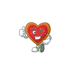 Picture love cookies making thumbs up gesture vector