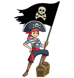 Pirate boy holding flag vector