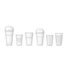 Plastic cups realistic transparent coffee juice vector