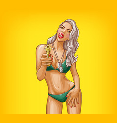 Pop art sexy gangster girl armed with gun vector