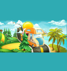 Road to clouds sea and forest nature landscape 3d vector