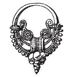 Roman earring vintage engraving vector