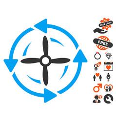 Screw rotation icon with love bonus vector