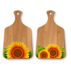 Set of realistic wooden cutting boards vector image