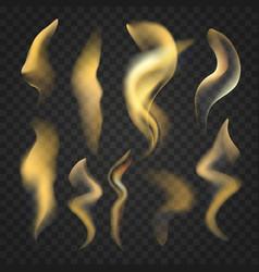 set transparent realistic fire flames vector image
