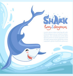 shark attack background blue dangerous fish with vector image