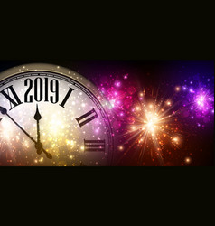 Shiny 2019 new year background with clock and vector