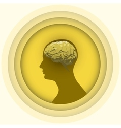 Silhouette of the human head with brain vector