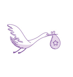 silhouette stork bird with baby in the bag vector image