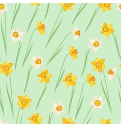 Spring flowers narcissus natural seamless pattern vector