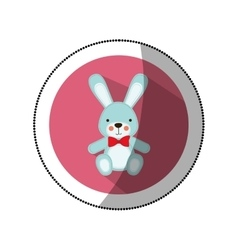 Sticker color silhouette with Stuffed rabbit in vector