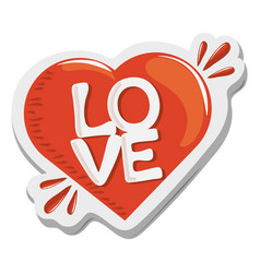 sticker love heart romantic funny cartoon design vector image