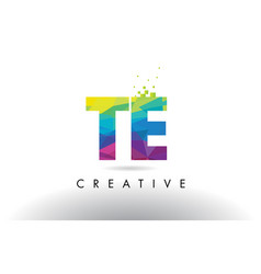 Te t e colorful letter origami triangles design vector