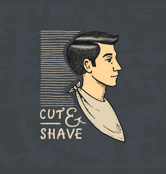 The man in the barber shop badge label logo vector