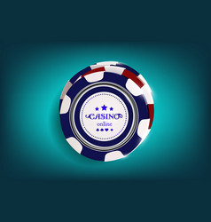 Top view of casino black and white chips on blue vector