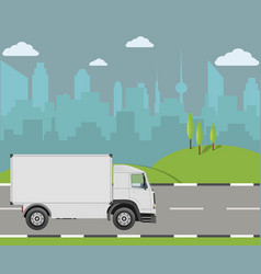 Truck driving on the road cargo transportation vector