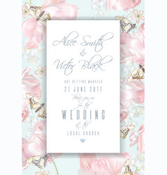 tulip butterfly invitation frame vector image