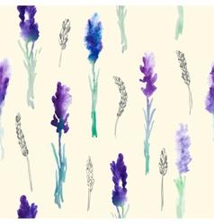 Watercolor Pattern of Lavender Flowers vector image