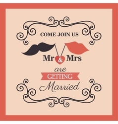 wedding card vintage lettering design vector image