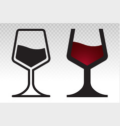 Wine glass with for tasting - flat icon vector
