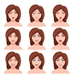 Woman Faces Set vector