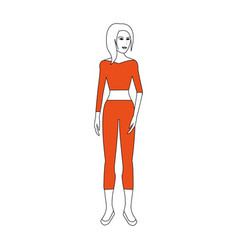 Young pretty woman wearing crop top and pants icon vector