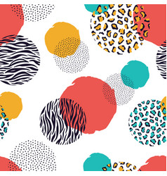 zebra and leopard seamless geometric pattern vector image