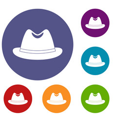 man hat icons set vector image vector image