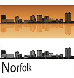 Norfolk skyline in orange background in editable vector image