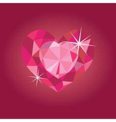 Ruby heart on red backrgound vector image