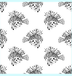 seamless pattern from black and white lion fish vector image vector image