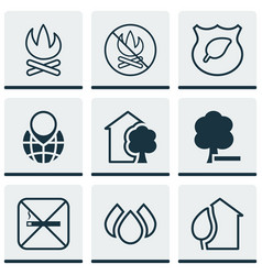 Set of 9 eco-friendly icons includes cigarette vector