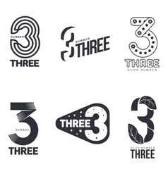 Set of black and white number three logo templates vector image vector image