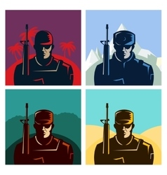 Soldier badges or avatars set Silhouette with vector image
