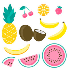 sweet watermelon melon pineapple cherry vector image