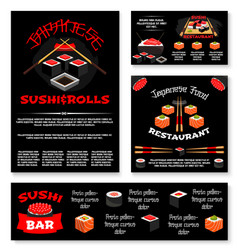 templates for japanese sushi restaurant vector image vector image