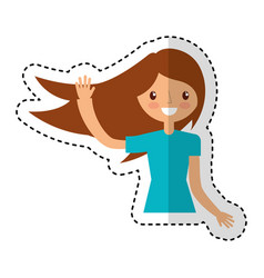 Young woman celebrating character vector