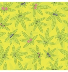 Cartoon kawaii weed seamless pattern green vector image vector image