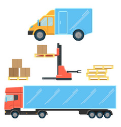 delivery truck for small boxes and heavy packages vector image vector image