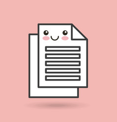 paper documents character kawaii style vector image