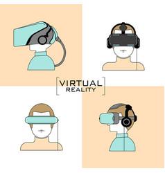 virtual reality headset icon flat design line vector image