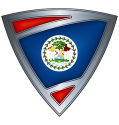 steel shield with flag belize vector image vector image